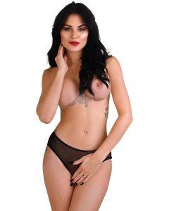 Daring Intimates Alexa Crotchless Slip Zwart L/XL