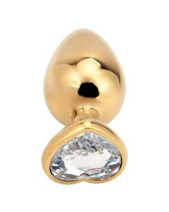 Seamless Anal Butt Plug Hart Large Goud/Wit
