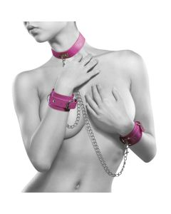 Ouch! Leather Collar and Handcuffs Roze